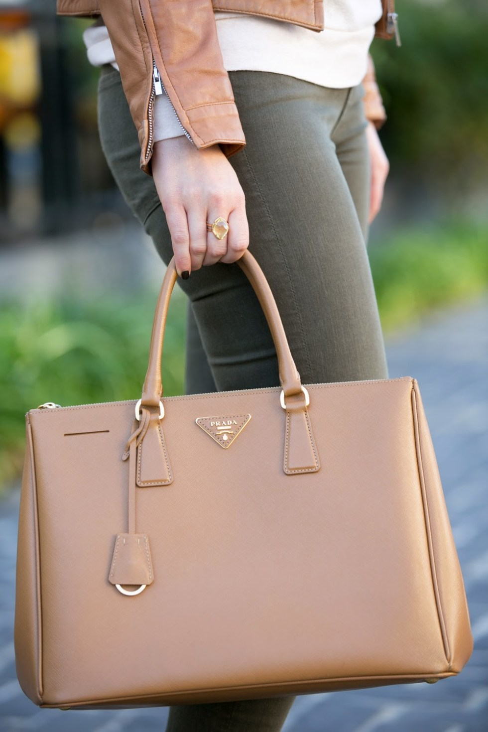 Tan Leather Bod & Christensen Jacket + Caramelo Prada Saffiano Tote Outfit