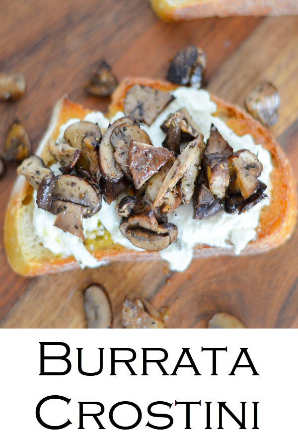 Burrata Crostini Appetizer w. Roasted Mushrooms. Roasted Thyme Mushroom + Burrata Crostini Recipe. Crostini ideas are endless. This mushroom toast wiht burrata cheese is a delectable appetizer that will impress everyone. Cheese crostini with veggies.