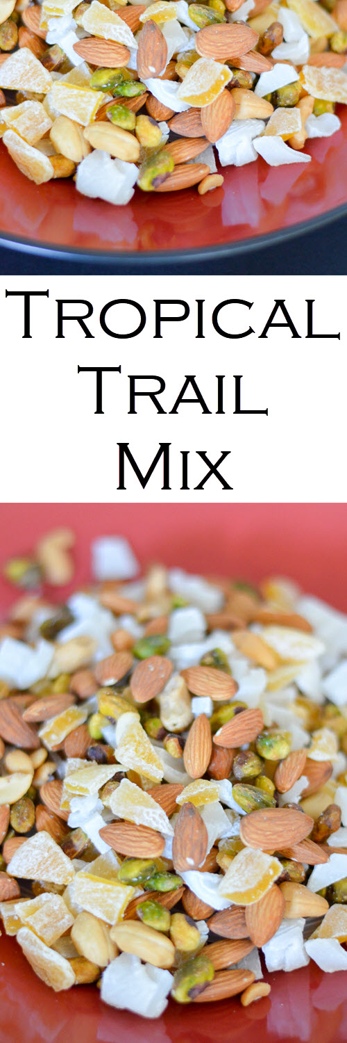 Island Tropical Trail Mix. This delicious trail mix recipe has dried mango and dried young coconut for a wonderful island recipe! A healthy snack you can make in minutes.