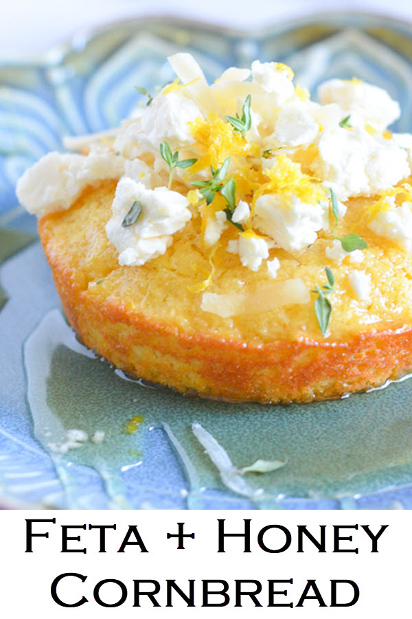 Feta + Honey Cornbread. A fun twist on an easy cornbread recipe. This savory cornbread is a delight!