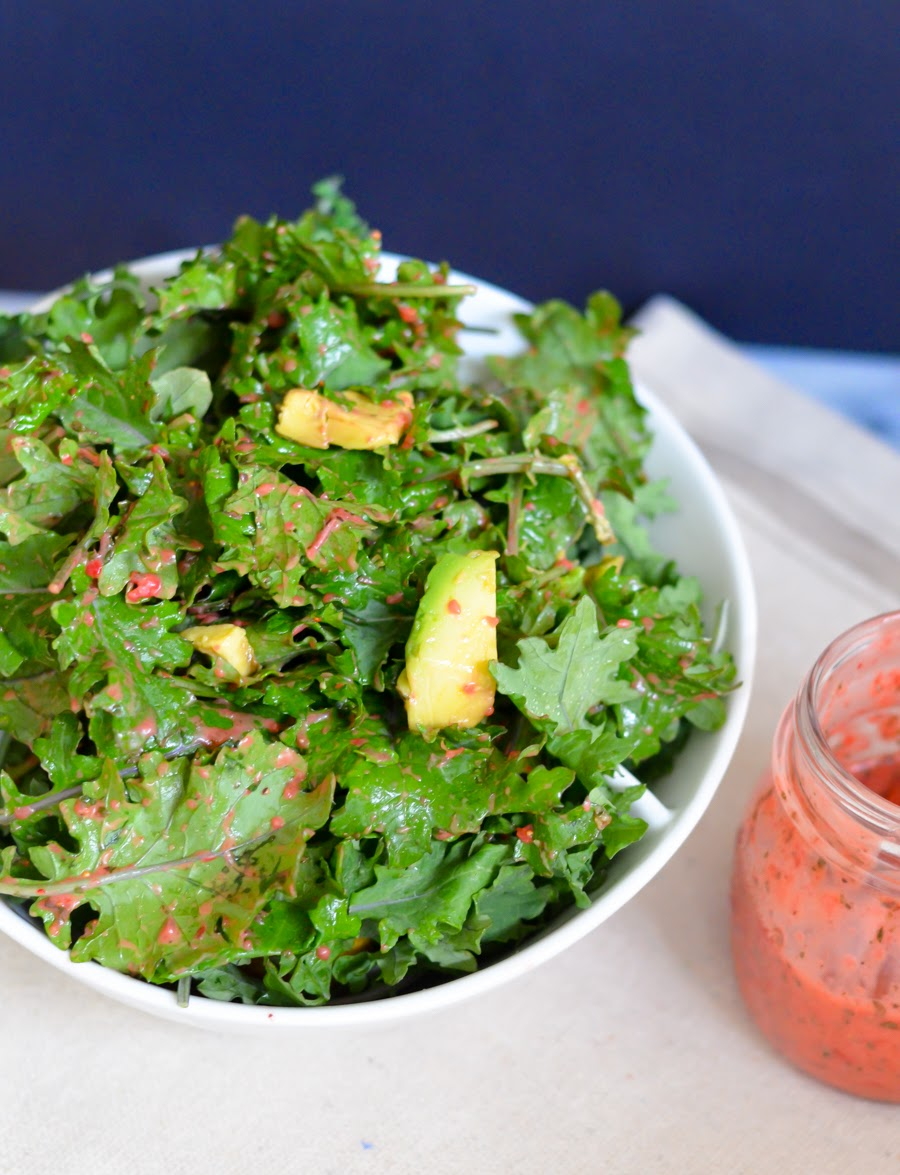 Strawberry Salad Dressing with Fresh Mint | Kale + Avocado Salad