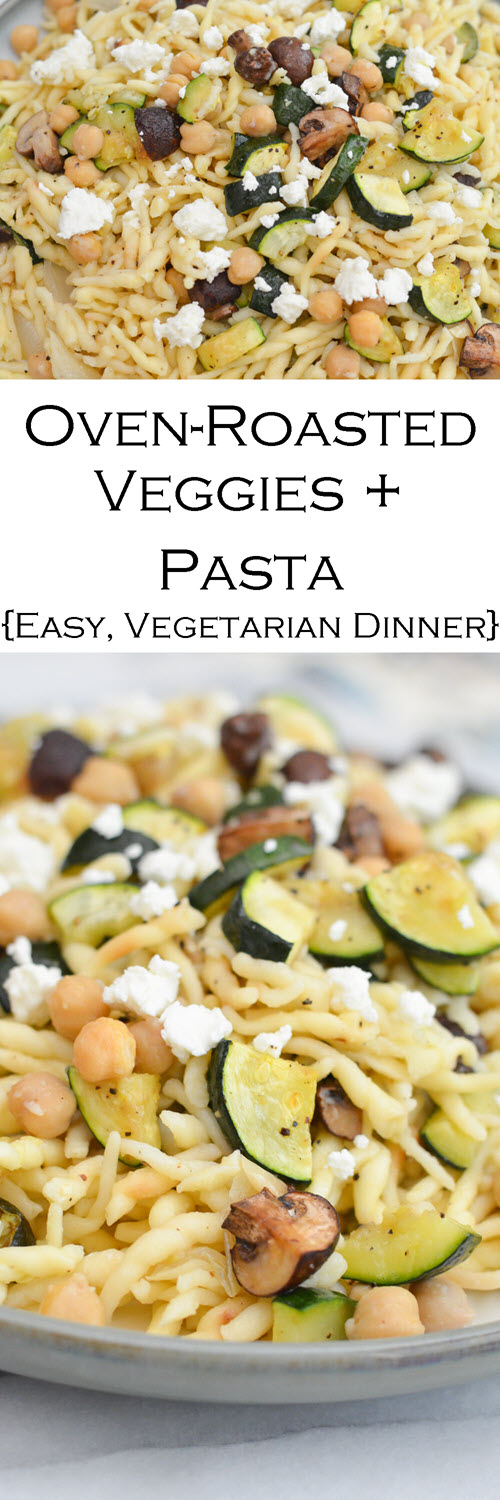 This easy veggie pasta dinner is a great last minute recipe for a vegetarian dinner that everyone will love. Weeknight dinners never tasted so delicious!