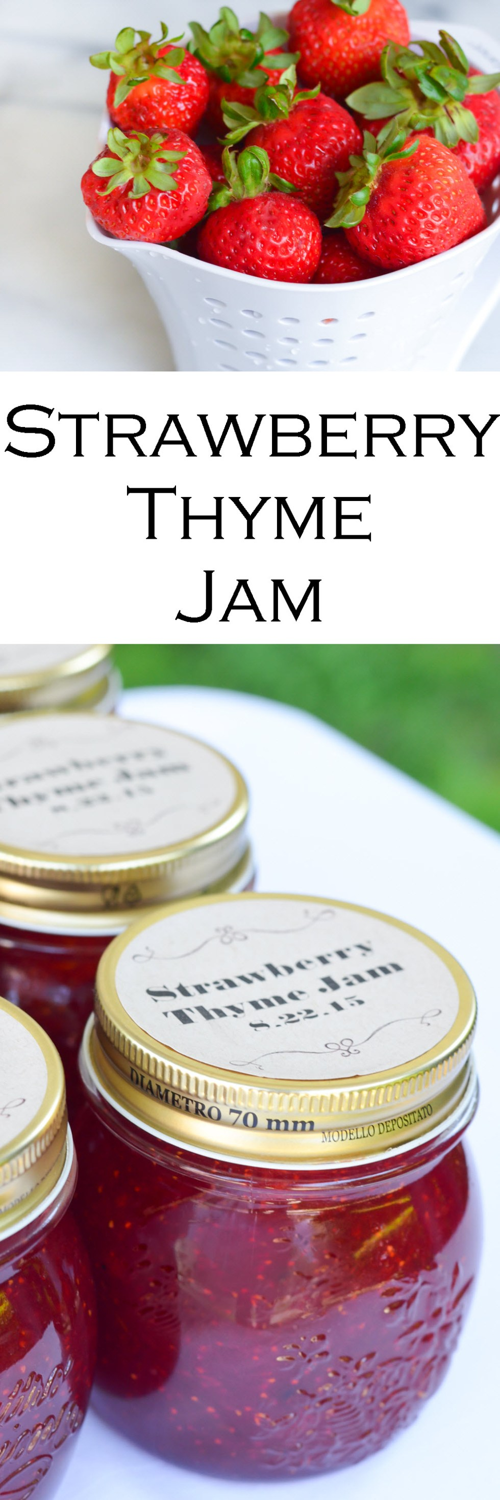 Strawberry Jam Recipe w. Fresh Thyme - Homemade Jam Wedding Favors
