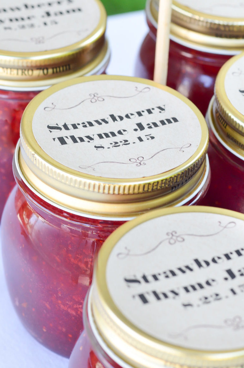 Strawberry Thyme Jam Wedding Favors