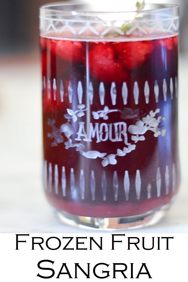 Frozen Fruit Sangria with Red Wine.. A delicious year round red wine sangria with frozen or fresh raspberries. This cabernet sangria recipe is easy and delicious.