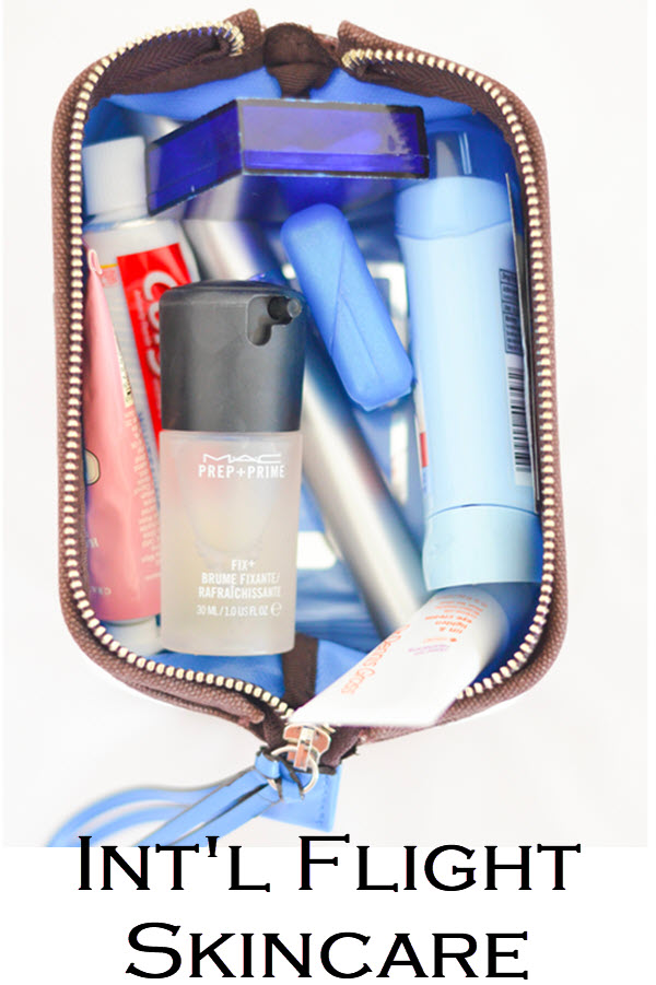 Int'l Flight Skincare. International Plane Travel Skin + Beauty Care - What to Pack in your makeup bag. #trael #traveltips #skincare #internationaltravel