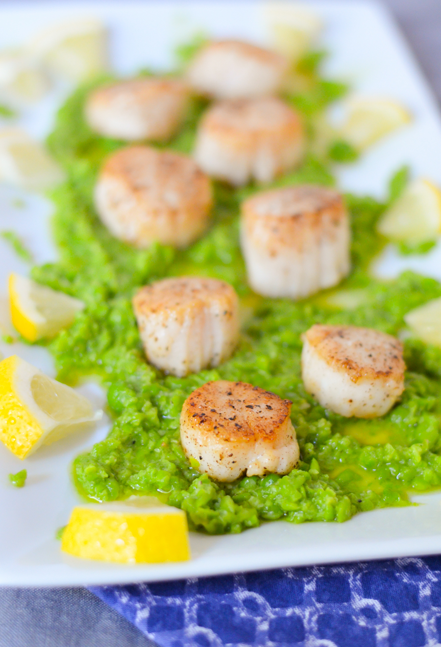 How to Cook Scallops on Stove | Seared Scallops Recipe | Appetizer w. Pea Pesto