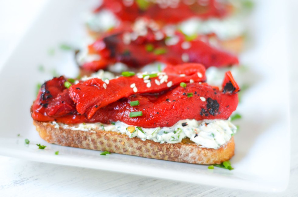 Fire Roasted Bell Pepper Toast w. Herbed Goat Cheese