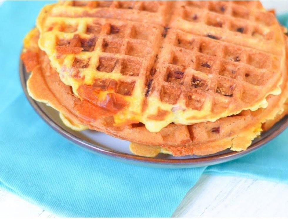 Leftover Ham Recipe - Ham + Cheese Waffles