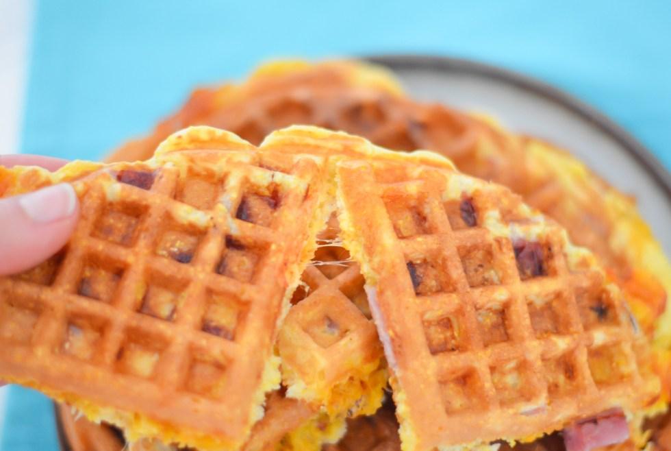 Ham and Cheese Waffles | Ham Leftover Recipe