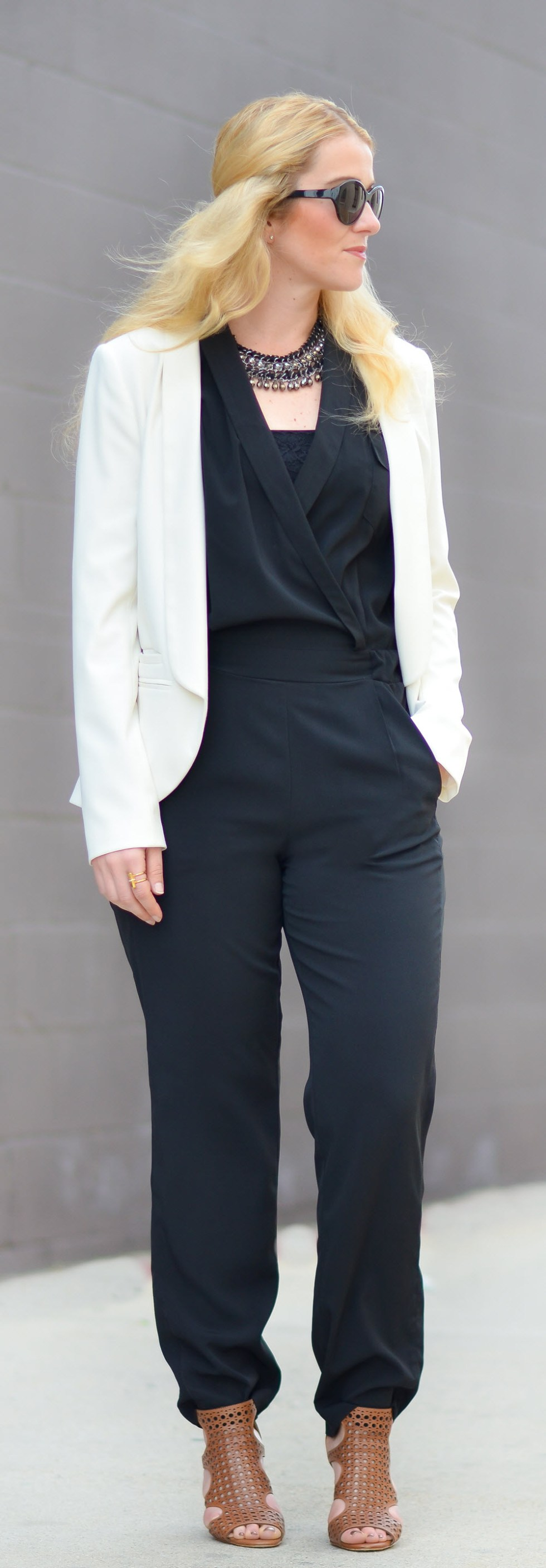 What to Wear over Sleeveless Jumpsuit w. Blazer