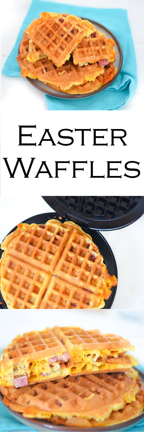 A delicious and easy recipe for Ham + Cheese Easter Waffles. These savory waffles are perfect for breakfast, brunch, and dinner. They're also a great leftover ham recipes!#lmrecipes #dinner #easydinner #waffles #breakfast #brunch #easter #ham #cheese #foodblog #foodblogger