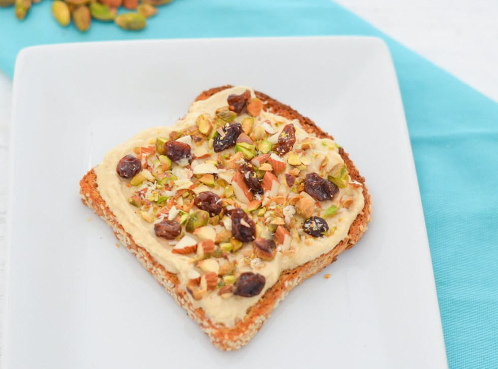 4 Ways to eat Hummus Toast | Vegan, Healthy Bread Toast Ideas Recipes | Chopped Pistachio, Almond, Honey, + Raisins | Luci's Morsels :: LA Healthy Food Blogger