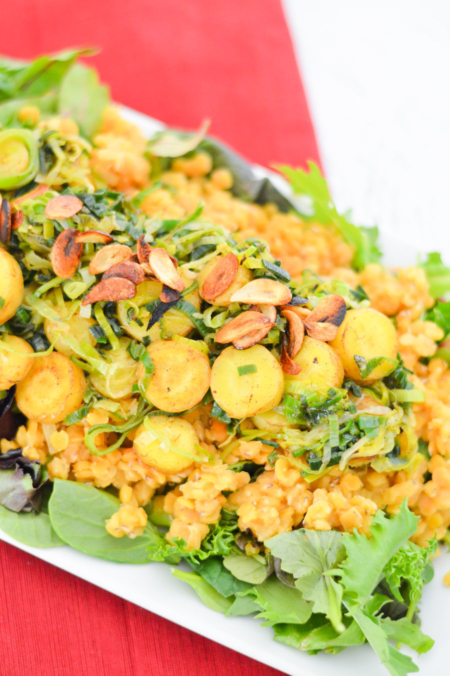 Warm Red Lentil Salad