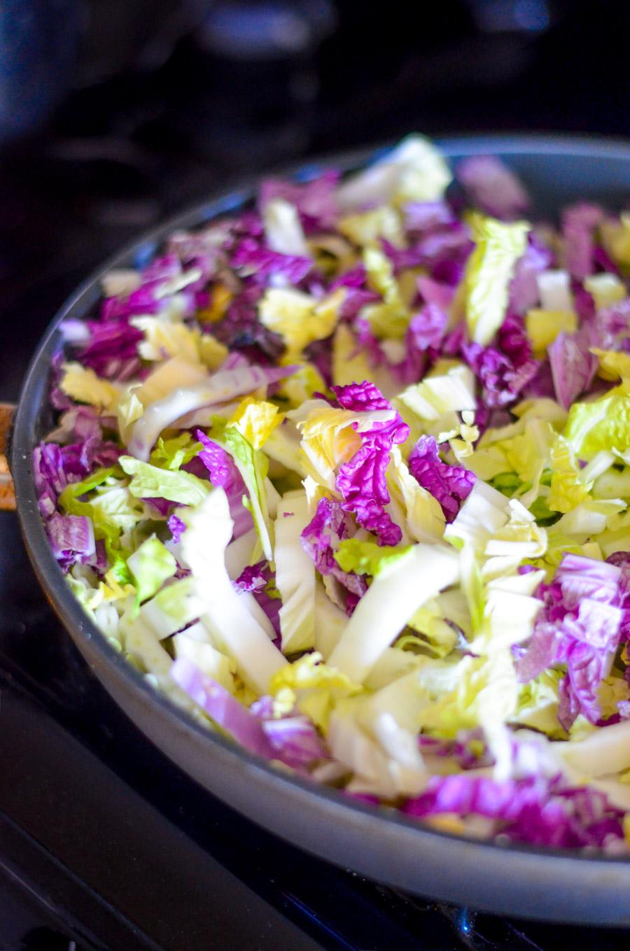 Napa Cabbage, Ground Turkey, Spaghetti   Healthy Weeknight Dinner