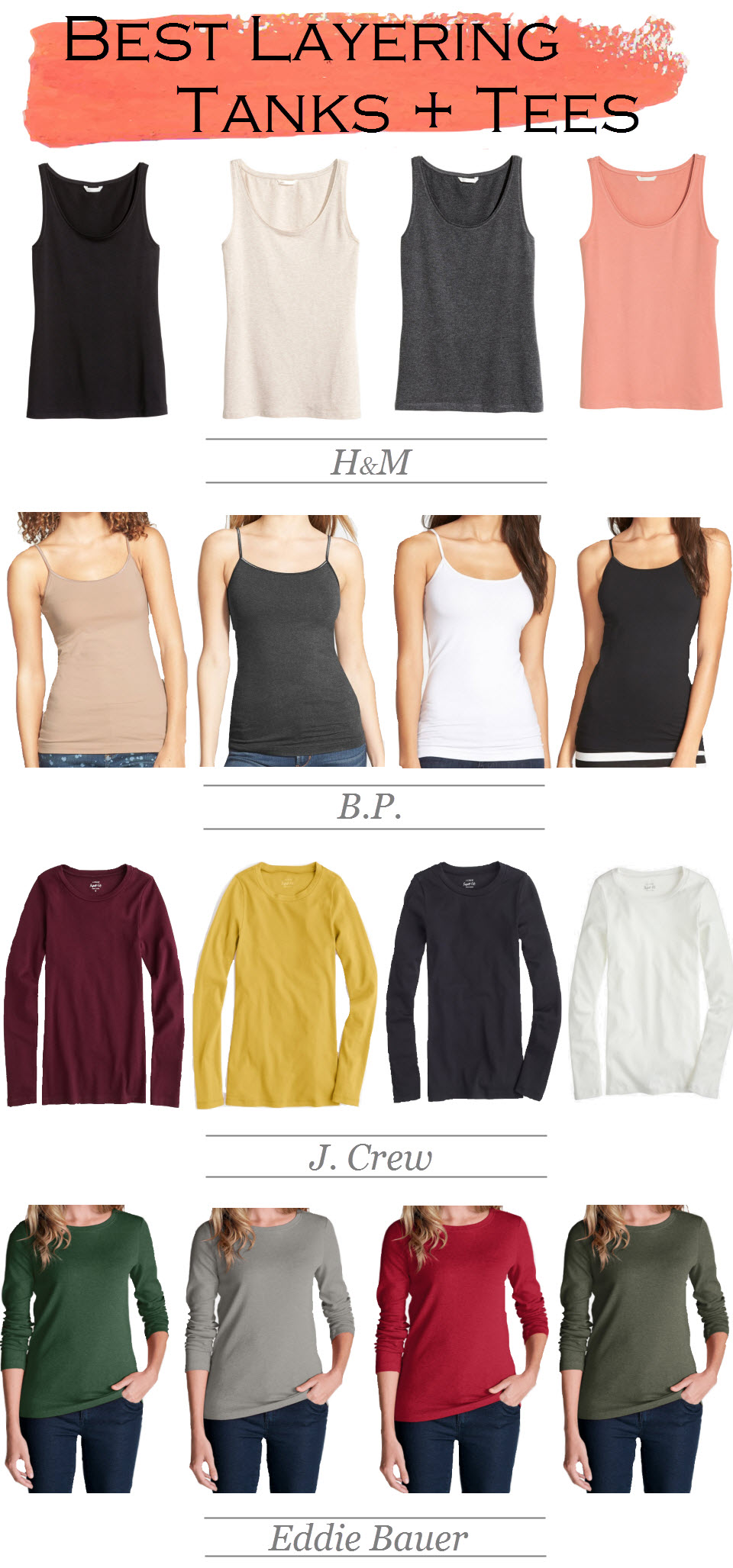 Best Shirts for Layering | Tank Tops + Long Sleeve Tees