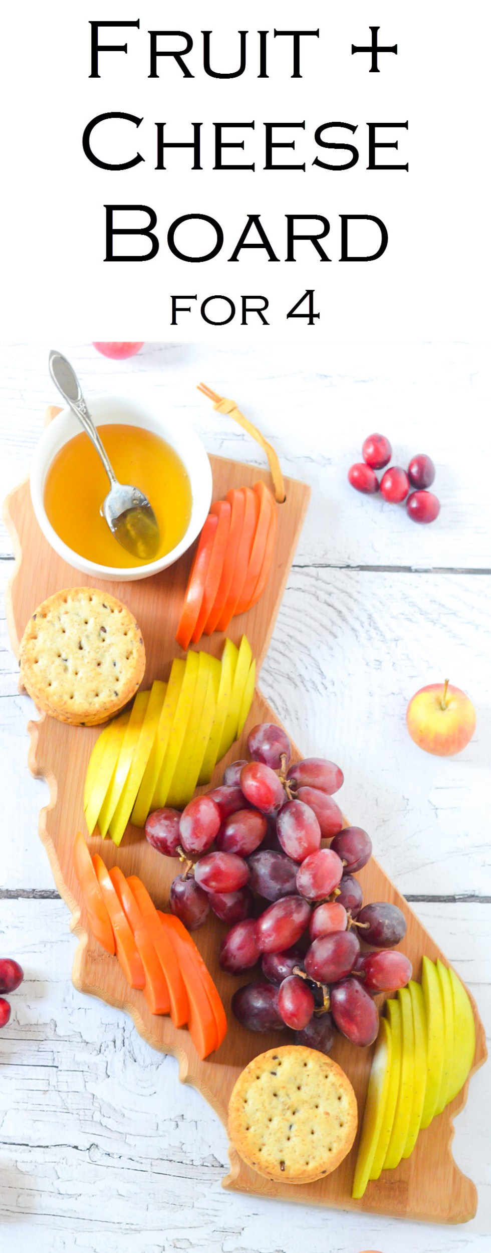 Fresh Fruit Appetizer Board for 4 People. An easy starter for entertaining guests. This board is great to put out for guests when they arrive before food is ready!