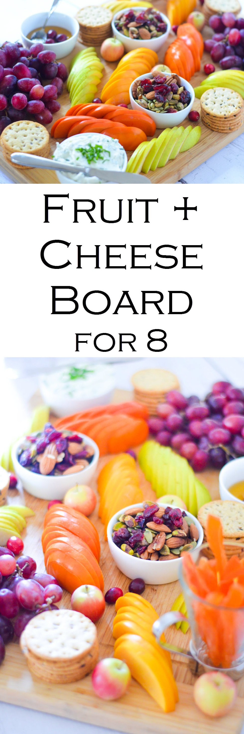 Fruit and Cheese Appetizer Board for 8 People. Featuring trail mix, sliced fresh fruit, herbed goat cheese, and crackers.