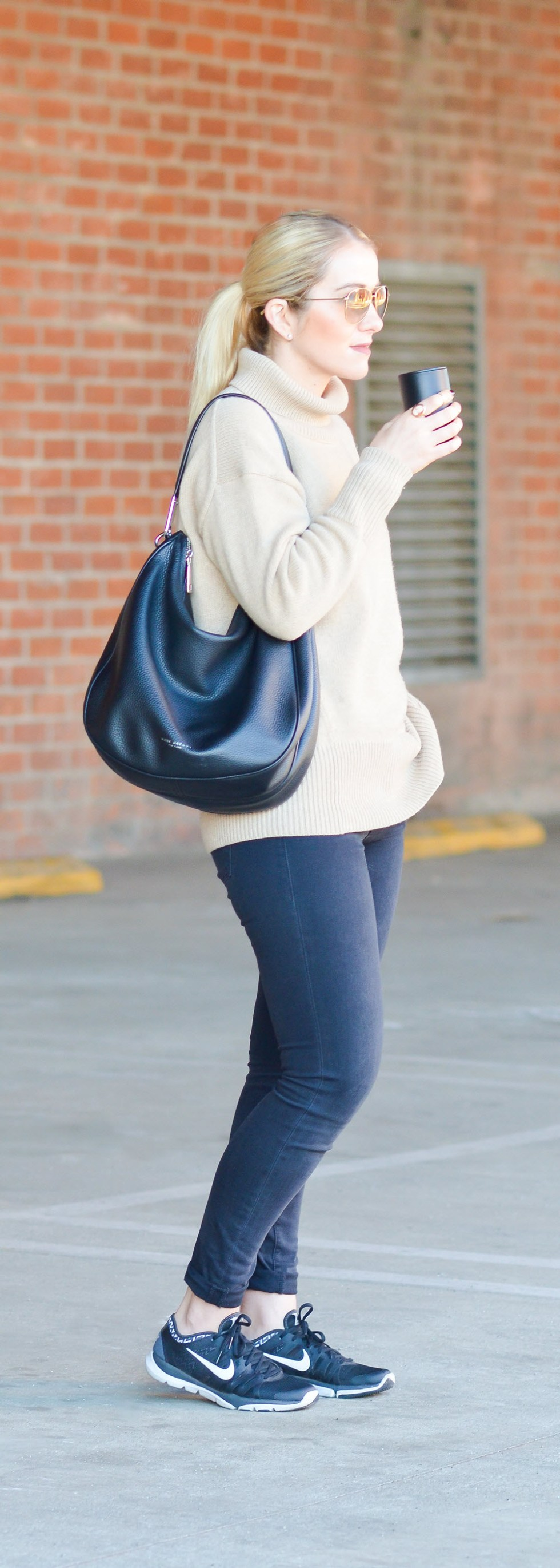 Black Turtleneck Sweater Outfit w. Nike Sneakers + Dark Skinny Jeans. Casual, Chic Winter Outfit