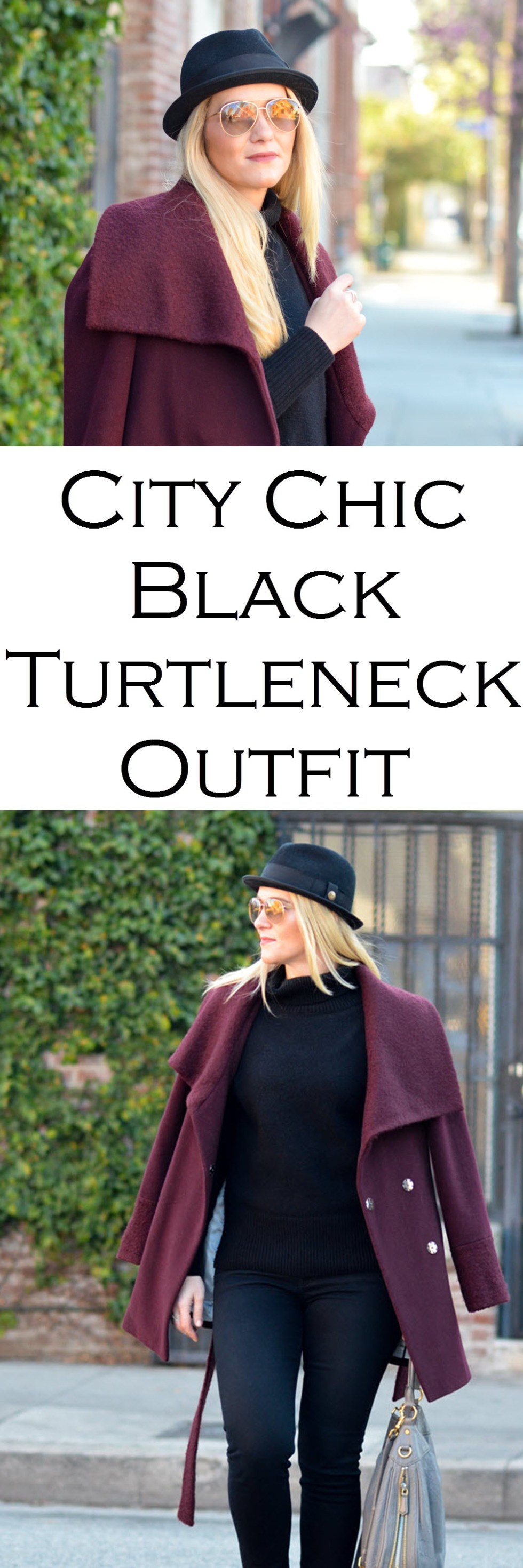 City Chic Black Turtleneck Outfit w. Black Skinny Jeans + Wrap Coat.
