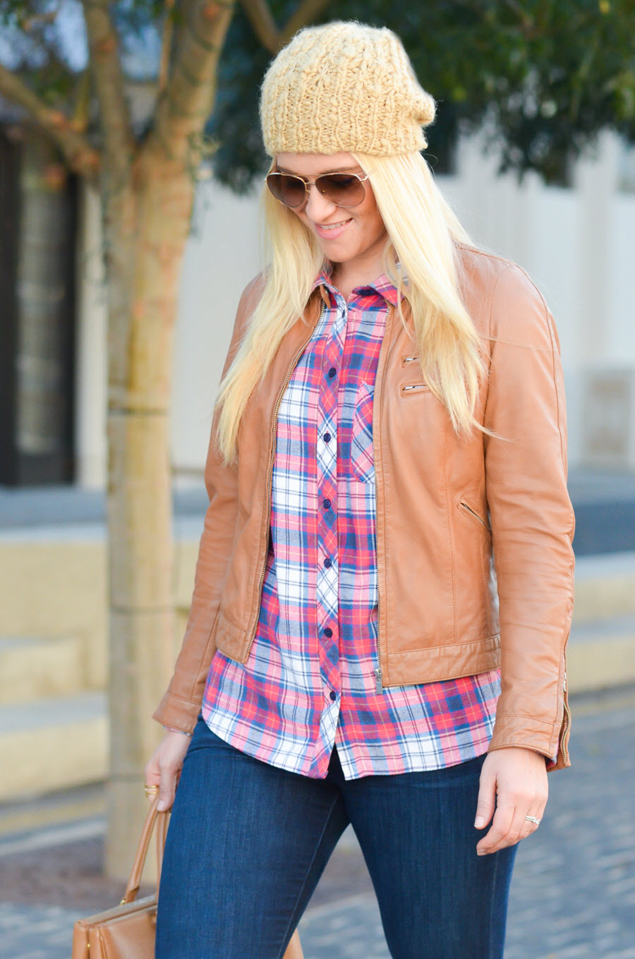 How to Wear Tan Leather Jacket Outfit w. Flannel