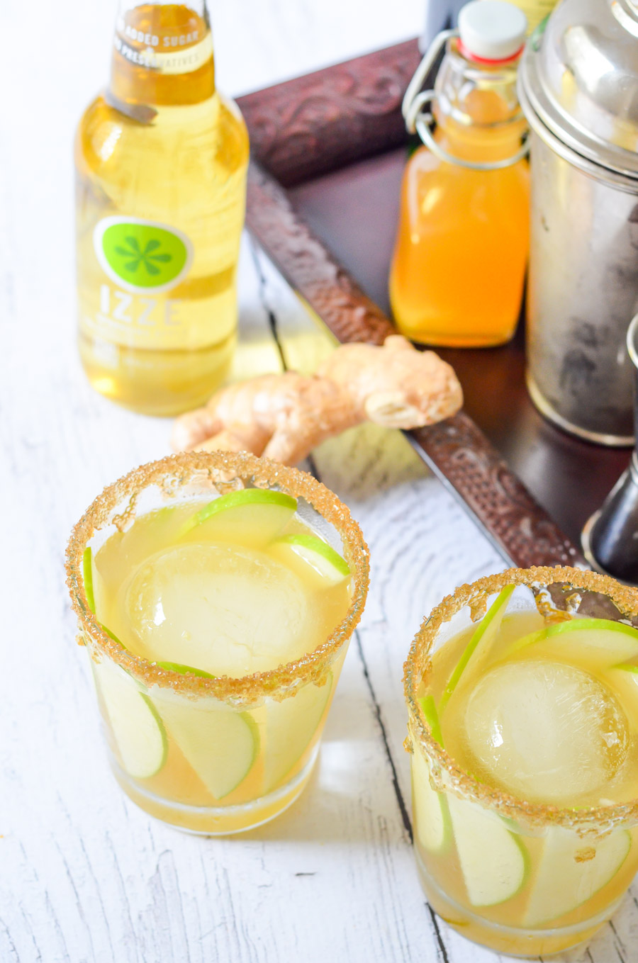 Irish Whiskey Cocktail Recipe w. IZZE Sparkling Apple, Fresh Ginger, + Honey