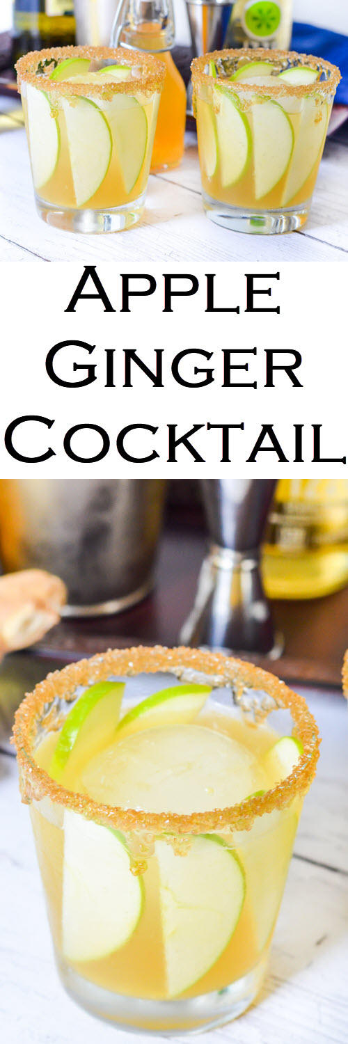 Apple Ginger Cocktail with Honey Sugar Rim + WhiskeyEasy Fall, Winter drink and a perfect St. Patrick's Day Cocktail. #LMrecipes #cocktail #whiskey #whisky #bourbon #cocktailrecipe #mixology #bartender #stpatricksday #stpaddysday #partytime #apples #foodblog #foodblogger