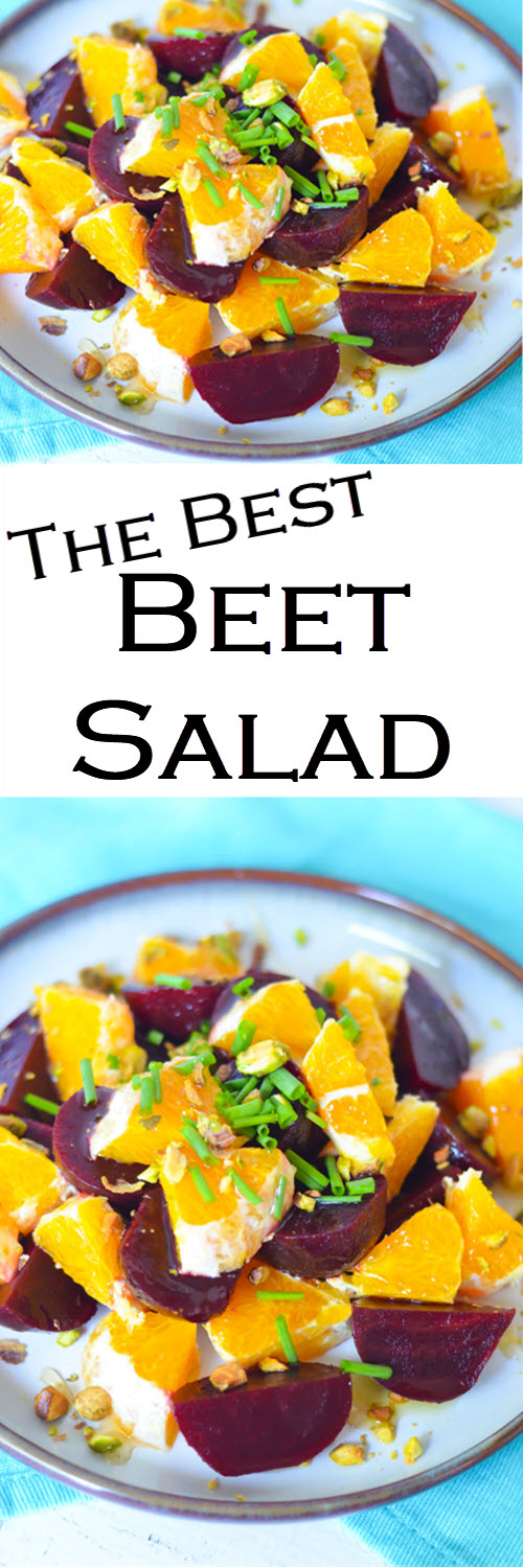 The best Beet Salad w. Oranges. A delicious and fresh Winter Salad to serve as a side dish, small salad, or as a small lunch. #LMrecipes #beets #oranges #salad #healthy #winter #winterproduce #farmtotable #foodblog #foodblogger