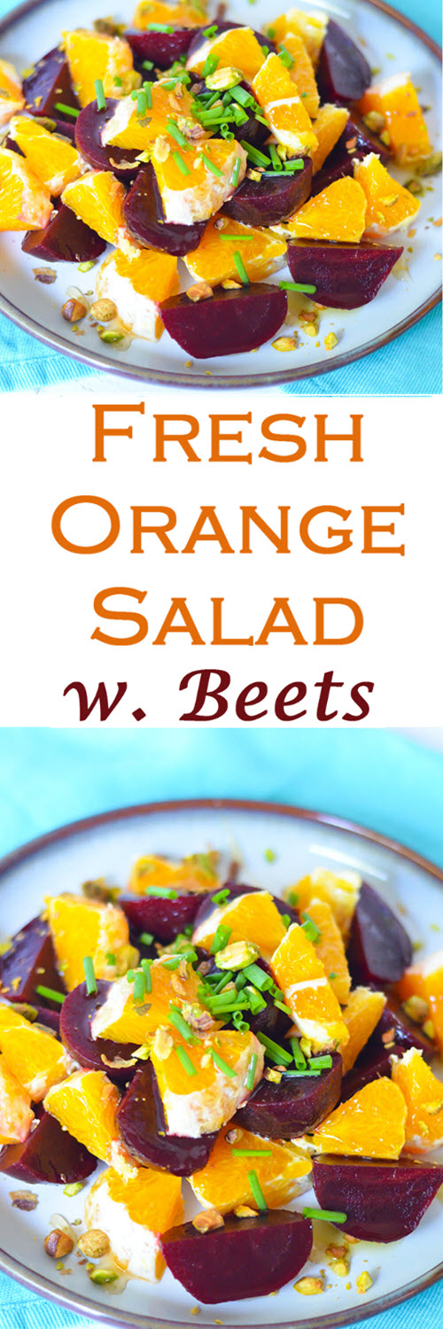Baby Beet Salad w. Oranges. A delicious and fresh Winter Salad to serve as a side dish, small salad, or as a small lunch. #LMrecipes #beets #oranges #salad #healthy #winter #winterproduce #farmtotable #foodblog #foodblogger