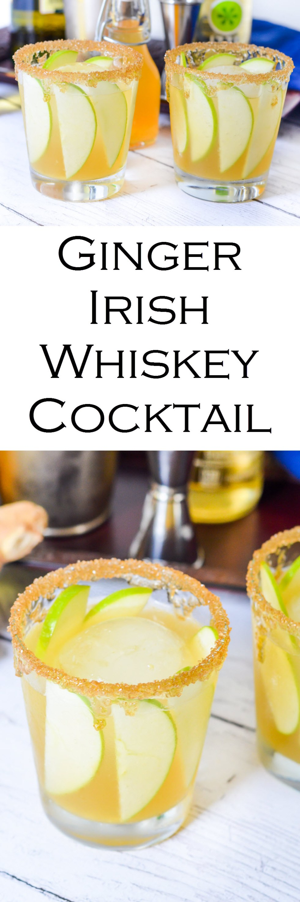 Irish Whiskey Ginger Cocktail Recipe IZZE Sparkling AppleEasy Fall, Winter drink and a perfect St. Patrick's Day Cocktail. #LMrecipes #cocktail #whiskey #whisky #bourbon #cocktailrecipe #mixology #bartender #stpatricksday #stpaddysday #partytime #apples #foodblog #foodblogger