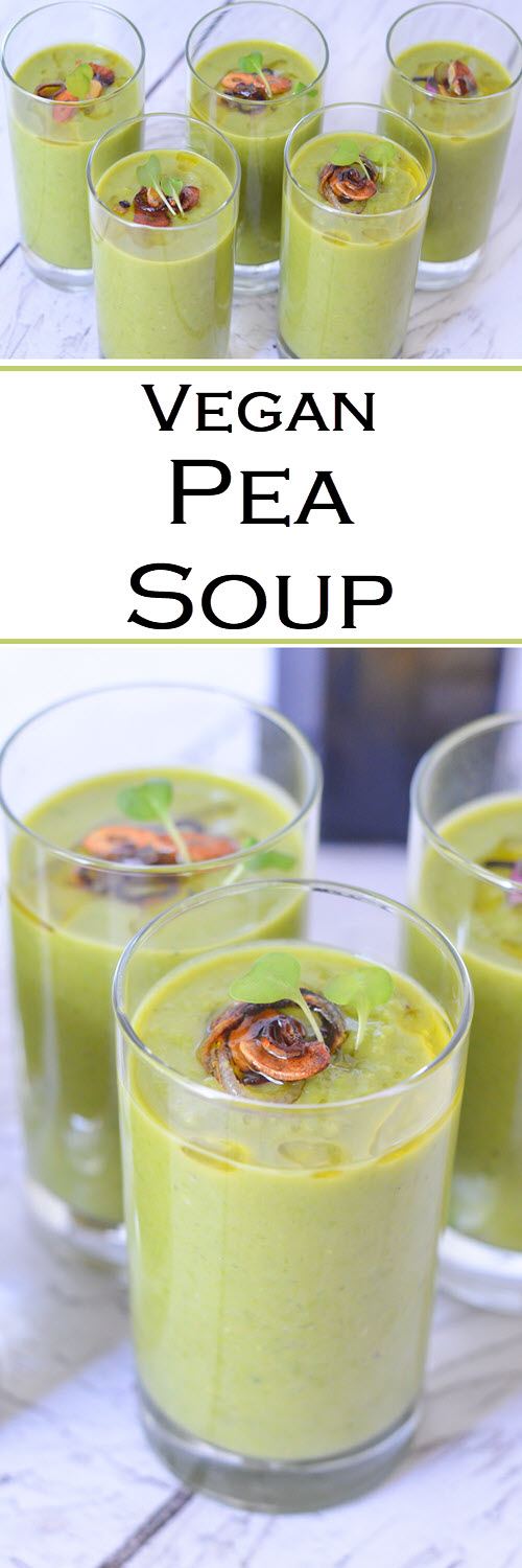 Vegan Pea Soup Recipe. Delicious and easy recipe great as a weeknight dinner or as an appetizer. Can be served warm or chilled. #LMrecipes #soup #peas #vegan #plantbased #healthy #dairyfree #foodblog #foodblogger #recipe