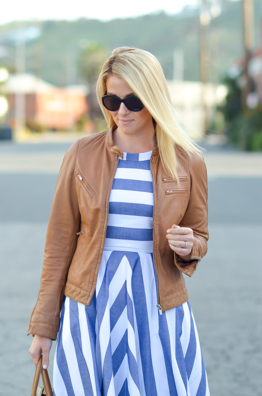 How to Wear Brown Leather Jacket and Dress Outfit Ideas