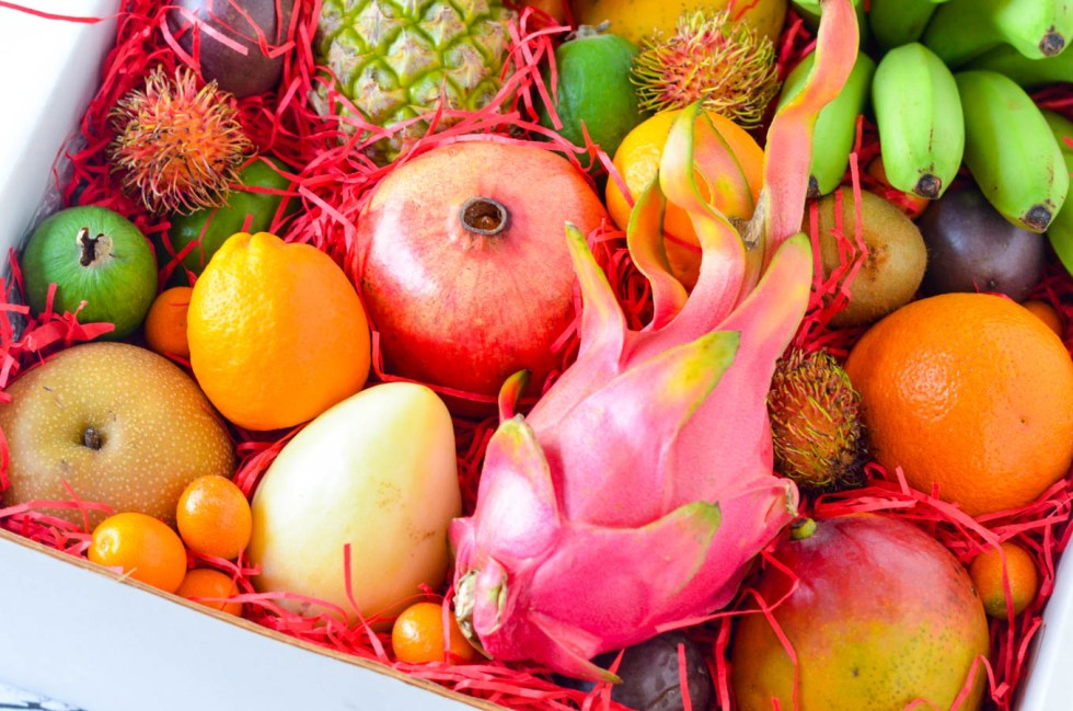 Tropical Fruit Salad in Dragon Fruit Bowl