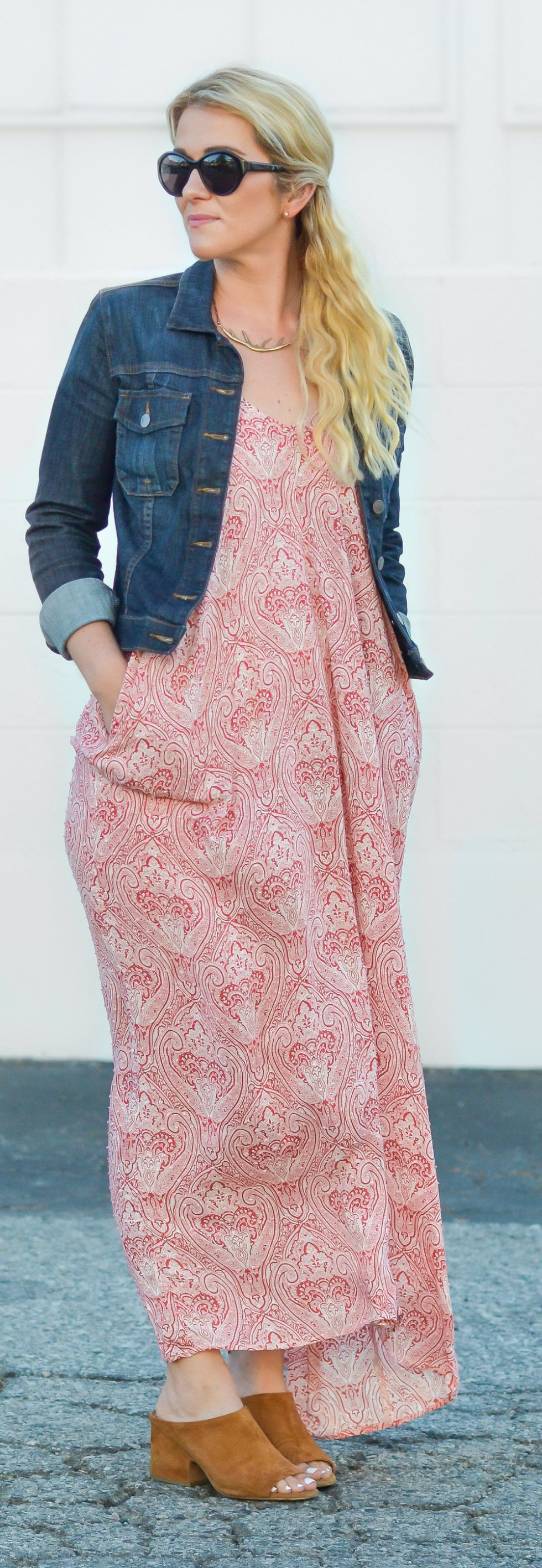 Casual Maxi Dress Outfit | Print Maxi Dress and Dark Denim Jacket Outfit