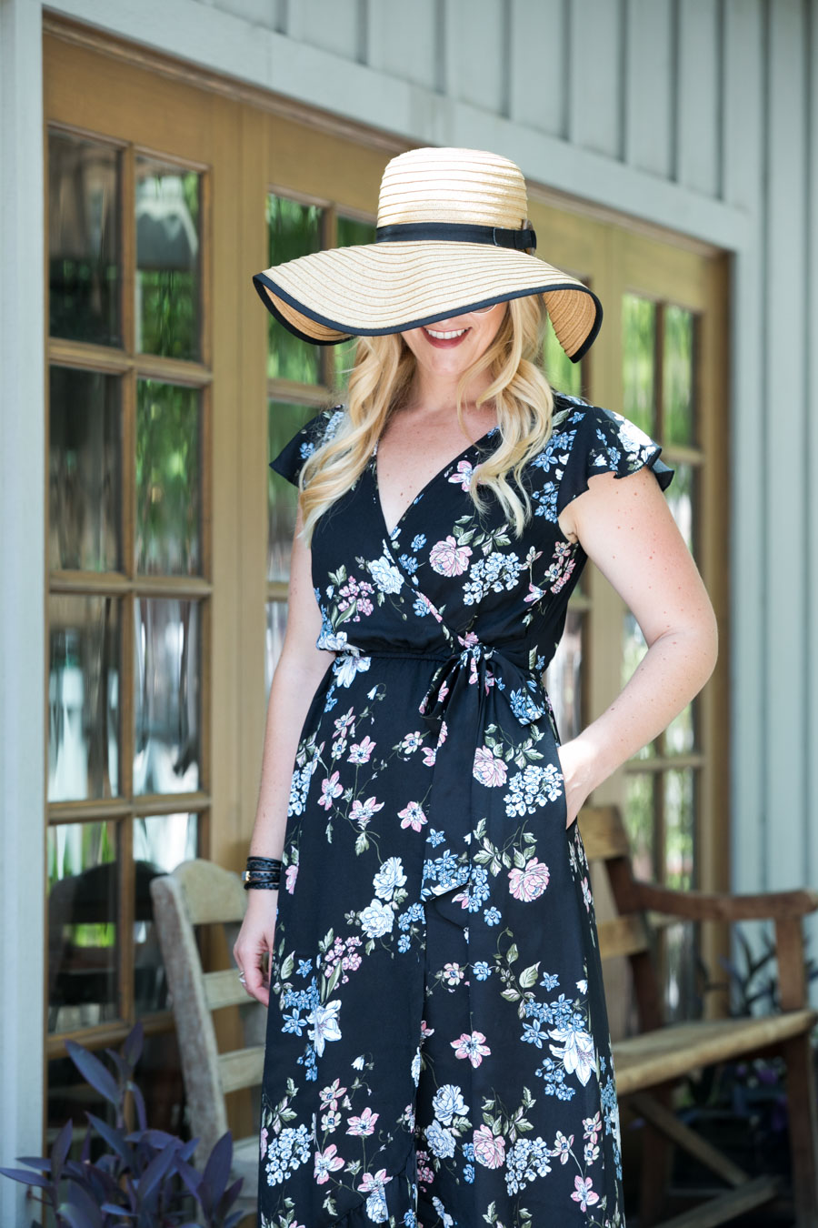 Black Floral Maxi Wrap Dress + Floppy Hat Outfit 035899ad6d5c