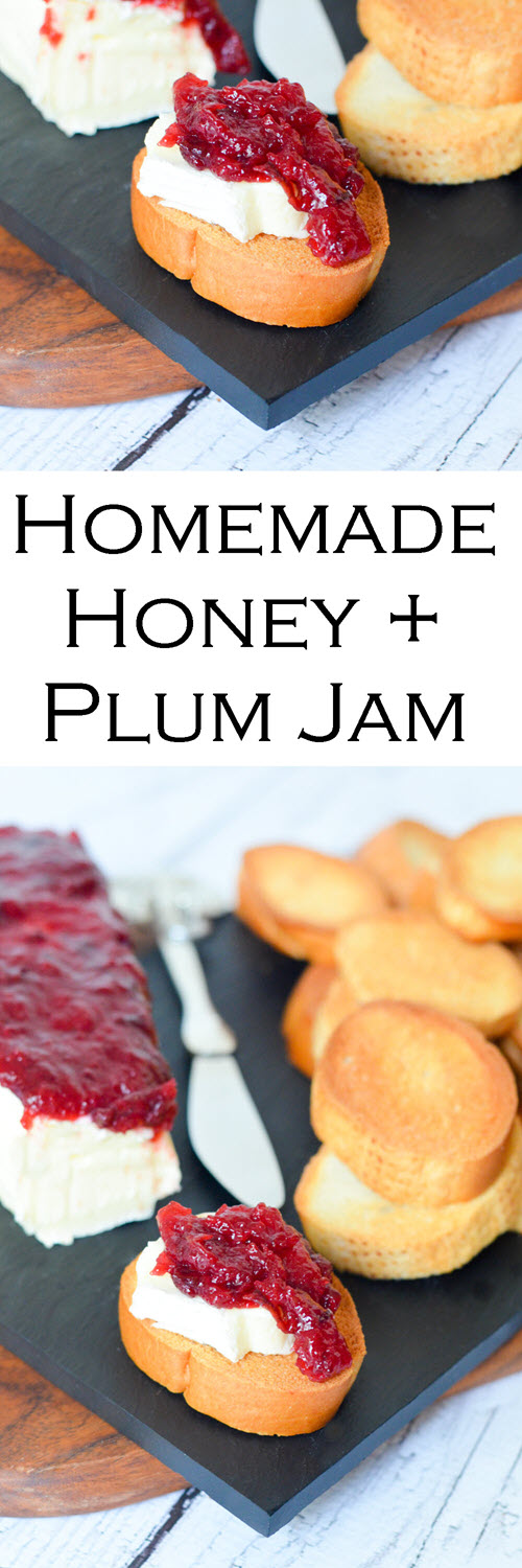 Brie Crostini Appetizer with Honey Plum Jam. Homemade Honey + Plum Jam Recipe w. Brie and Crostinis | Easy Summer Appetizer. How to Make Jam with Honey. #appetizers #plums #brie #crostini #appetizer #starter #lmrecipes #entertaining #honey #homesteading #foodblog