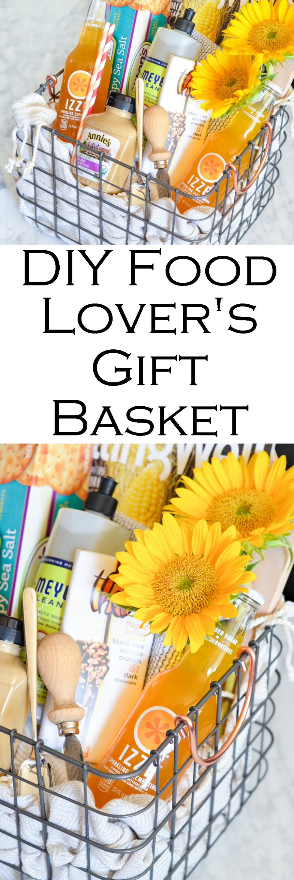 DIY Food Lover's Gift Basket w. IZZE drinks, magazines, crackers, spread, flowers, chocolate, etc.! Perfect Homemade Best Friend Gift Idea!