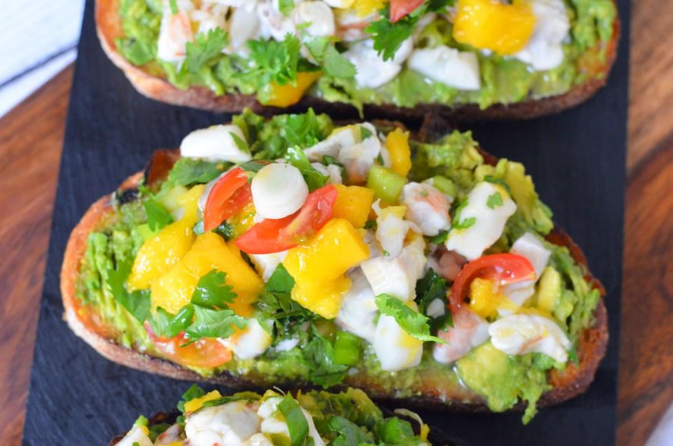Ceviche Avocado Toast Recipe - No Cook Summer Brunch or Dinner Idea