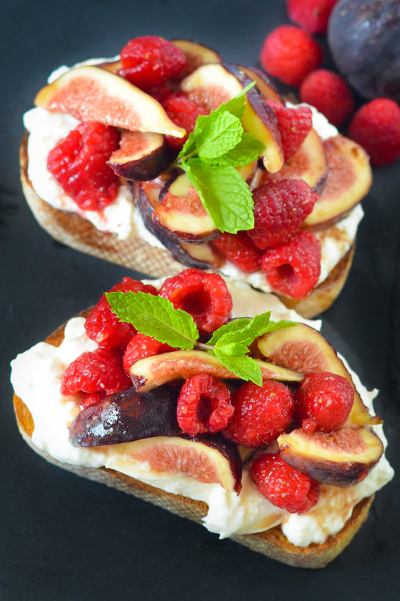 Fig + Berry Burrata Toasts