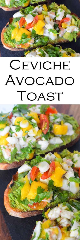 Ceviche Avocado Toast Recipe - No Cook Summer Brunch or Dinner Idea. Easy ceviche idea with a fun avocado toast recipe. #ceviche #avocado #avo #avocadotoast #shrimp #scallop #nocook #easydinner #pescetarian #dinner #entree #summerrecipes #lmrecipes