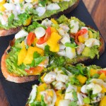 Ceviche Tartine. A great make ahead dinner and no cook dinner option for summer. Ceviche Avocado Toast Recipe - No Cook Summer Brunch or Dinner Idea. Easy ceviche idea with a fun avocado toast recipe. #ceviche #avocado #avo #avocadotoast #shrimp #scallop #nocook #easydinner #pescetarian #dinner #entree #summerrecipes #lmrecipes