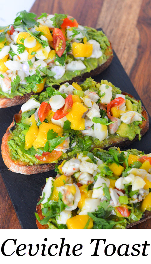 Ceviche Toast. A great make ahead dinner and no cook dinner option for summer. Ceviche Avocado Toast Recipe - No Cook Summer Brunch or Dinner Idea. Easy ceviche idea with a fun avocado toast recipe. #ceviche #avocado #avo #avocadotoast #shrimp #scallop #nocook #easydinner #pescetarian #dinner #entree #summerrecipes #lmrecipes