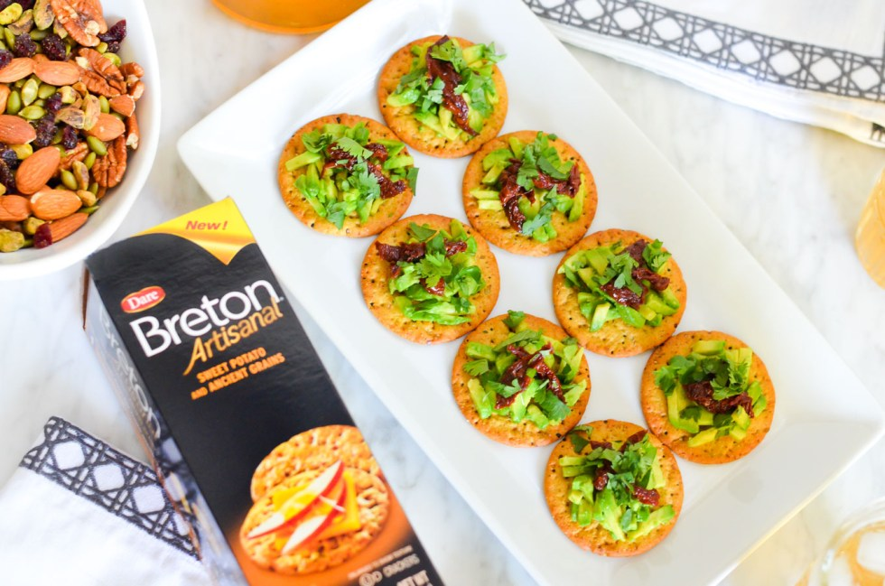 Sun-Dried Tomato Avocado Cracker Topping - Easy Appetizer Recipe