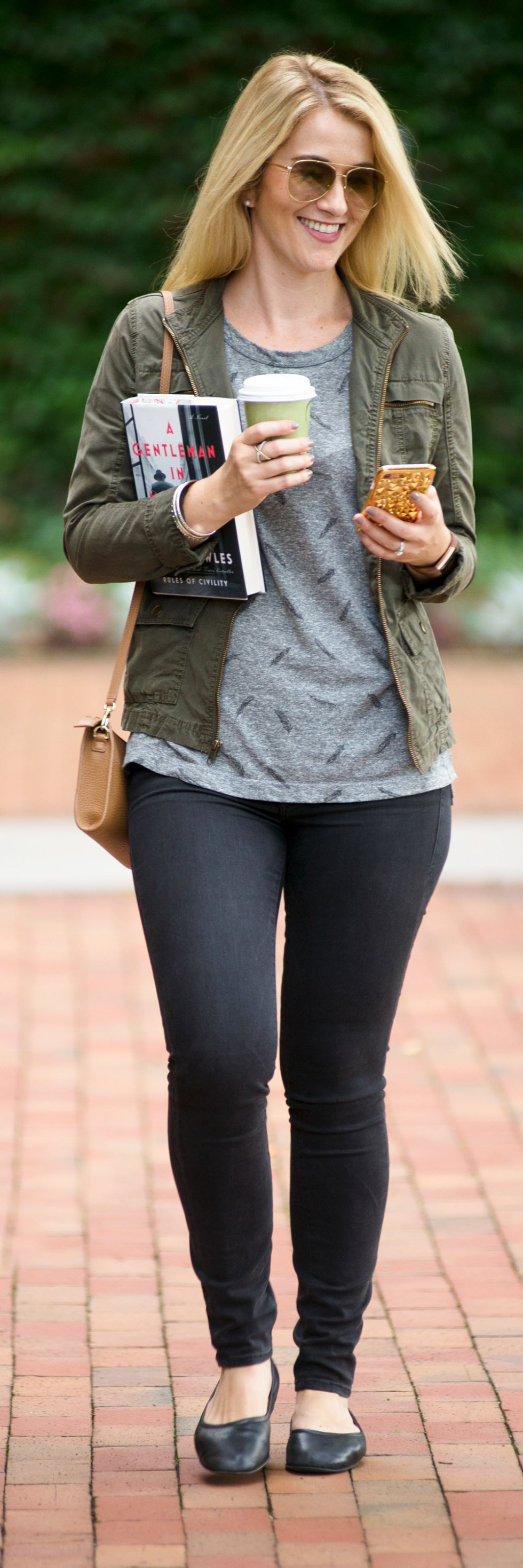 Black Skinny Jeans + Olive Green Military Jacket - 2017 Fall Outfit Ideas for Women over 30