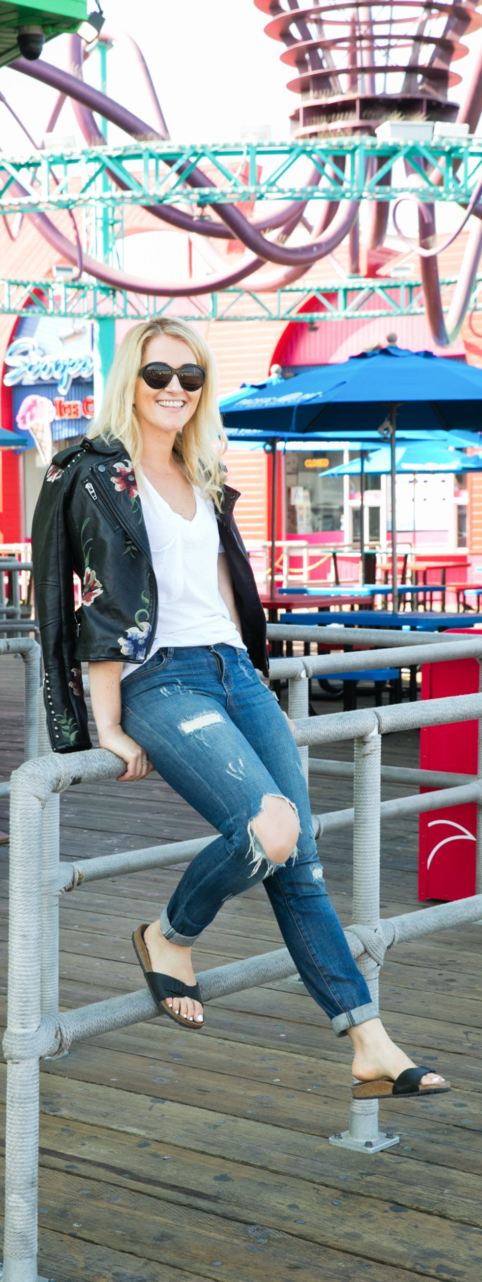 Casual Embroidered Leather Jacket + Distressed Jeans Outfit for Fall