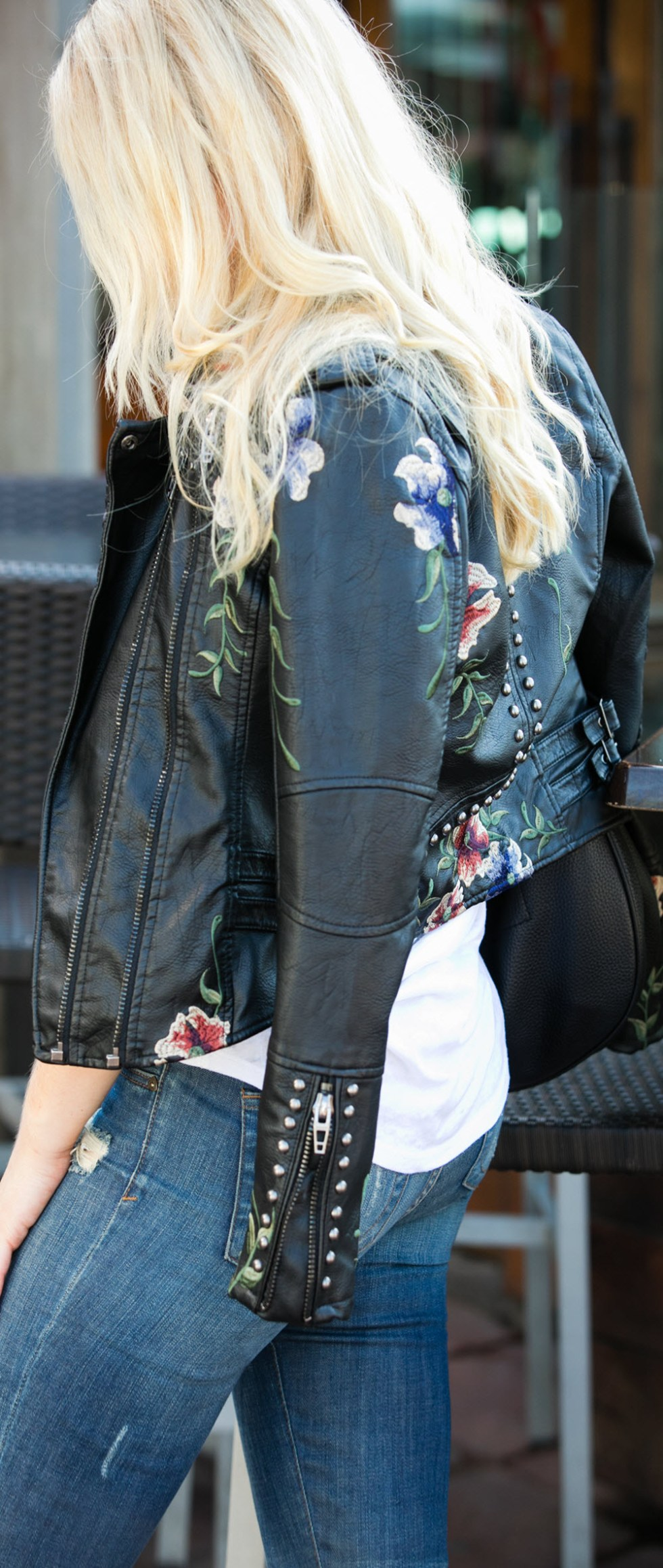 Casual BLANKNYC Embroidered Leather Jacket Outfit w. Distress Jeans for Fall
