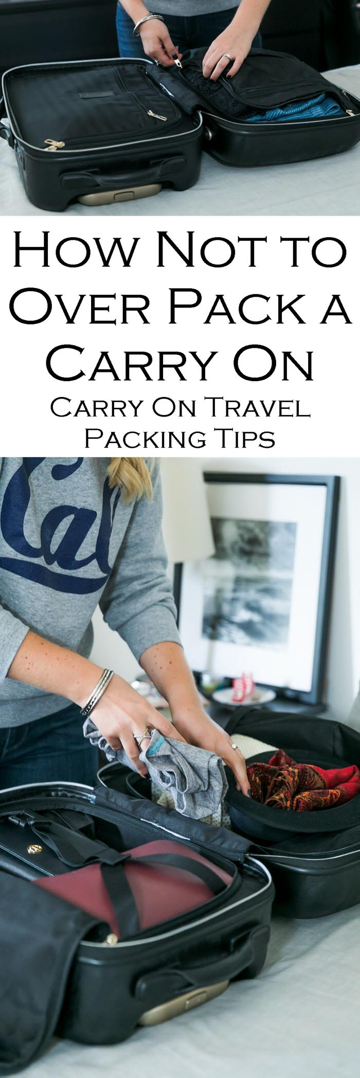 Carry On Travel Packing Tips - How Not to Over Pack a Carry On #travel #traveltips #carryon #luggage #packing #travelblogger #weekendtrip