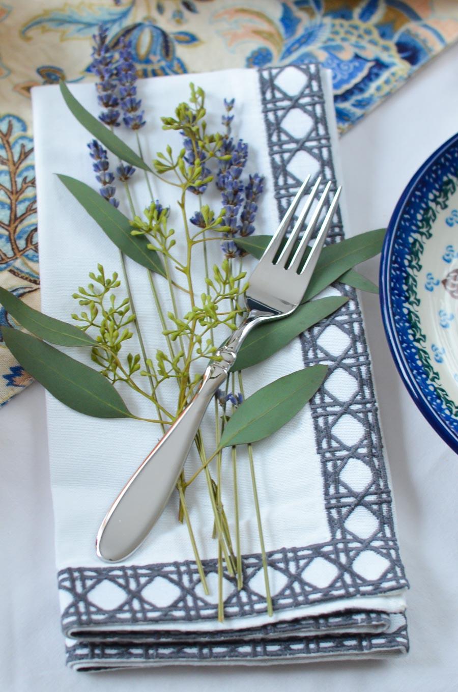 Fork + Lavender on Napkin - Table Setting Ideas