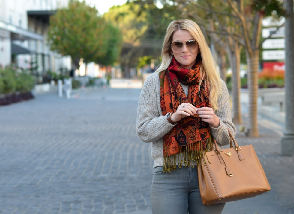 What to Wear with Grey Jeans Outfit with Sweater