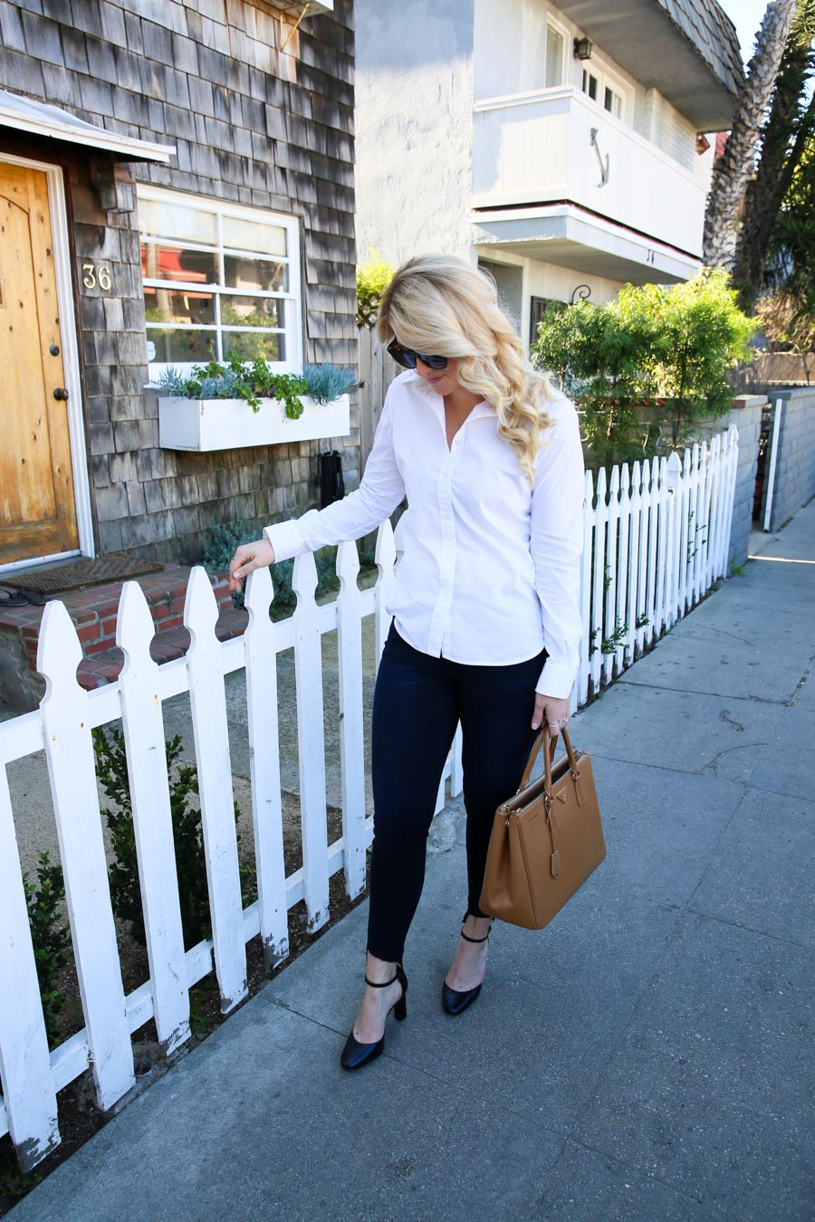 Black and Blue Work Outfit with Jeans - Current/Elliott Uneven Hem